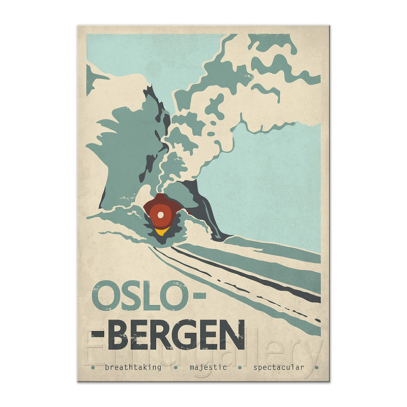 Travel Poster OsloBergen Norway EMU Gallery - Norway map poster