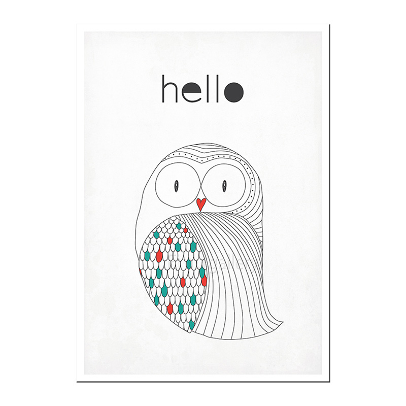 scandinavian poster owl hello emu gallery. Black Bedroom Furniture Sets. Home Design Ideas