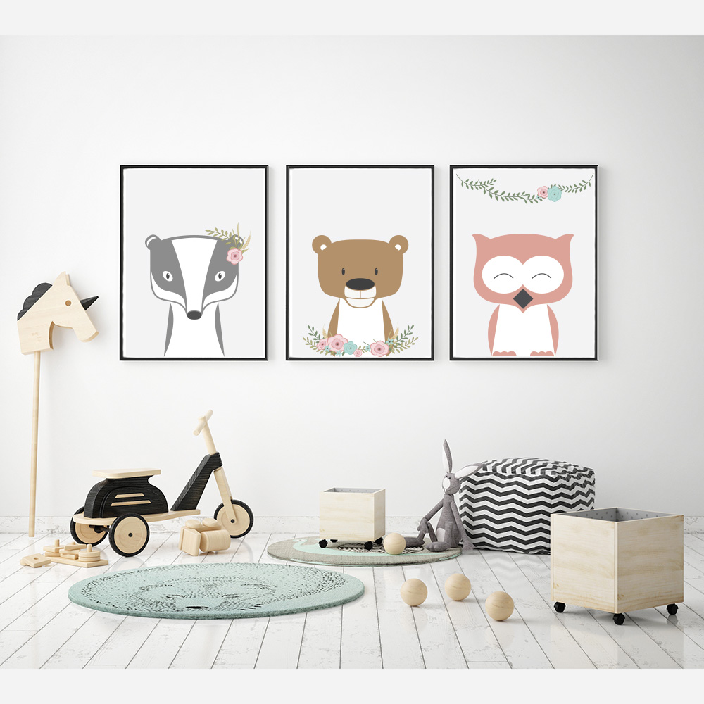 Nursery Posters Woodland Animals Flowers Ii Emu Gallery