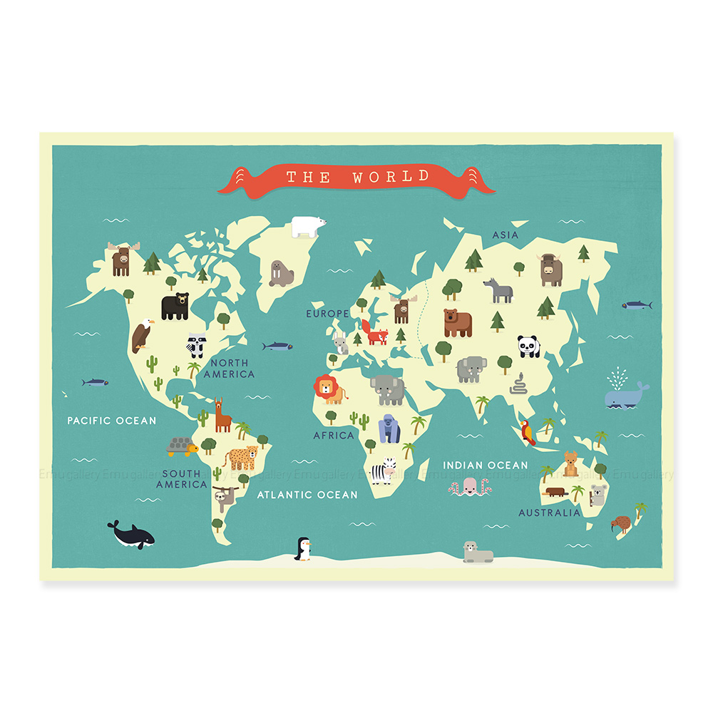 World Map For Nursery Animals Emu Gallery